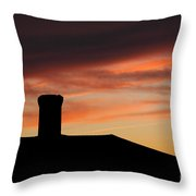 Chimney And Sunset Throw Pillow