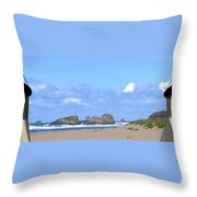 Chimneys Of Cannon Beach Throw Pillow