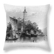 China: Golden Island, 1843 Throw Pillow