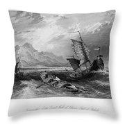 China: Gulf Of Bohai, 1843 Throw Pillow