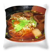 Chinese Beef Noodle Soup Throw Pillow