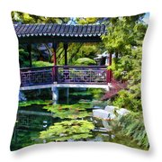 Chinese Gardens In Portland Oregon Throw Pillow