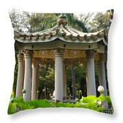 Chinese Pavilion In A Lotus Flower Garden Throw Pillow