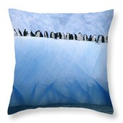 Chinstrap Penguins Lined Throw Pillow