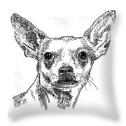 Chiwawa-portrait-drawing Throw Pillow