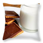 Chocolate Coated Butter Cookies And Milk Throw Pillow
