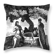 Christ & Woman Of Samaria Throw Pillow