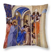 Christ Exorcising A Demon From A Possessed Youth: Illumination From The 15th Century Ms. Of The Tres Riches Heures Of Jean, Duke Of Berry Throw Pillow