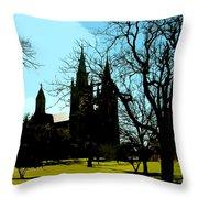 Christian Church Silhouette Throw Pillow