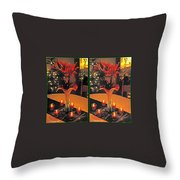 Christmas Arrangement - Gently Cross Your Eyes And Focus On The Middle Image Throw Pillow