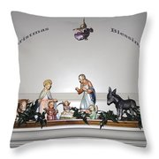 Christmas Blessings Creche Throw Pillow