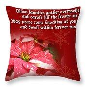 Christmas Card - Red And White Poinsettia Throw Pillow