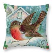 Christmas Card Depicting A Robin  Throw Pillow