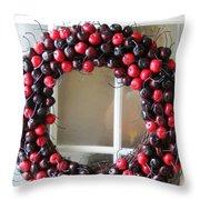 Christmas Cherry Wreath Throw Pillow