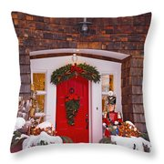Christmas Decorations Around A Front Throw Pillow