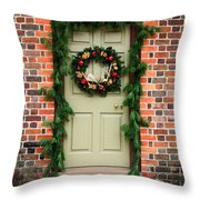 Christmas Door Throw Pillow