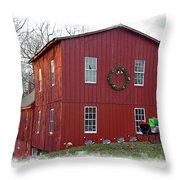 Christmas Eve At Williston Mill Throw Pillow