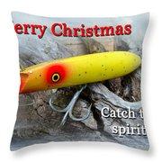 Christmas Greeting Card - Gibbs Darter Vintage Fishing Lure Throw Pillow