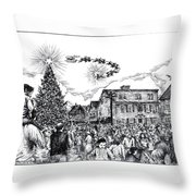 Christmas In Dock Square Rockport Throw Pillow