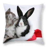 Christmas Kitten And Rabbit Throw Pillow