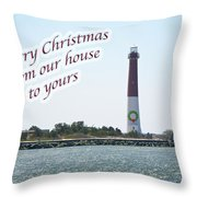 Christmas Lighthouse Card - From Our House To Yours Card Throw Pillow