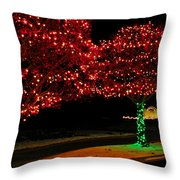 Christmas Lights Red And Green Throw Pillow