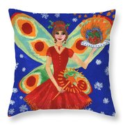 Christmas Pudding Fairy Throw Pillow