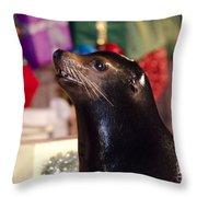 Christmas Sea Lion Throw Pillow