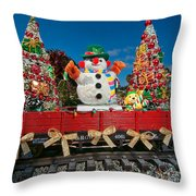 Christmas Snowman On Rails Throw Pillow