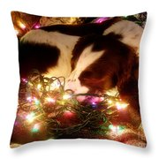 Christmas Spaniel Throw Pillow