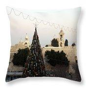 Christmas Tree In Manger Square Bethlehem Throw Pillow