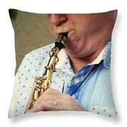 Christopher Mason Alto Sax Player Throw Pillow