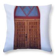 Christ's Red Door Throw Pillow