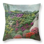 Chrysanthemum Garden - Ott's Greenhouse Schwenksville Pa Throw Pillow