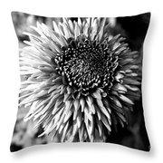 Chrysanthemum In Monochrome Throw Pillow