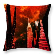 Chrysler Building - New York City Surreal Throw Pillow