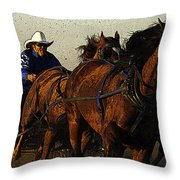 Rodeo Chuckwagon Racer Throw Pillow