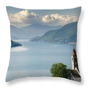 Church Close To An Alpine Lake Throw Pillow
