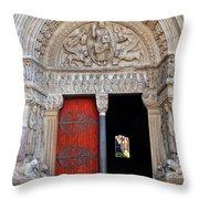 Church Entrance Arles France Throw Pillow