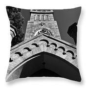 Church Facade In Black And White Throw Pillow