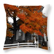 Church In Autumn Throw Pillow