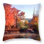 Church In Autumn Throw Pillow