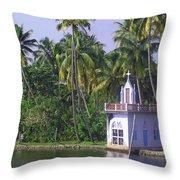 Church Located On A Coastal Lagoon In Kerala In India Throw Pillow