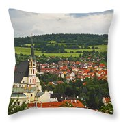 Church Spire In The Old Town Cesky Throw Pillow