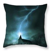 Church Struck By Lightning Throw Pillow