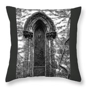 Church Window And Vines Bw Throw Pillow