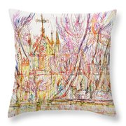 Church With Palm Trees Throw Pillow