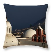 Churches In Fira Greece Throw Pillow