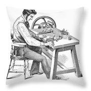 Cigar-making Machine, 1859 Throw Pillow