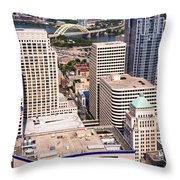 Cincinnati Aerial Skyline Downtown City Buildings Throw Pillow